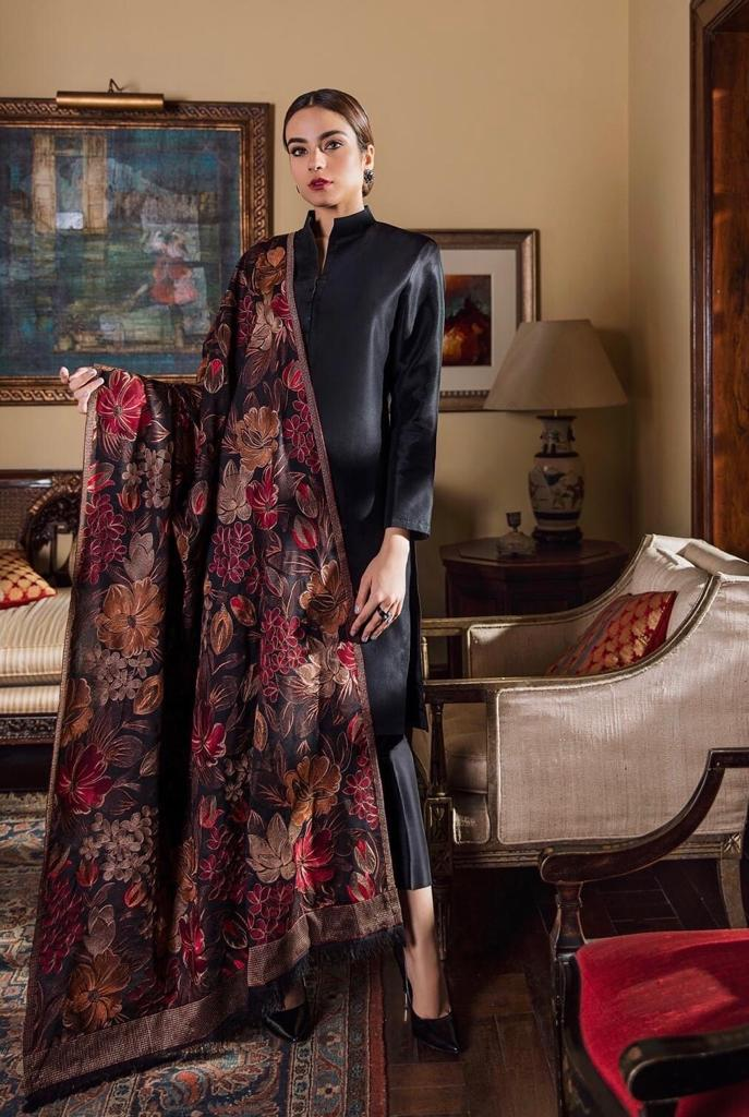 Sarinnah Premium D14-Luxury Formal Heavy Embroidered Karandi Lawn Shawl.