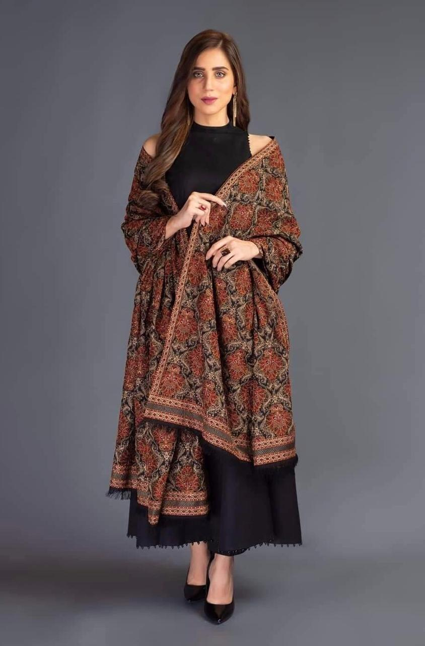 Sarinnah premium D15-Luxury Formal Heavy Embroidered Lawn Karandi Lawn Shawl.