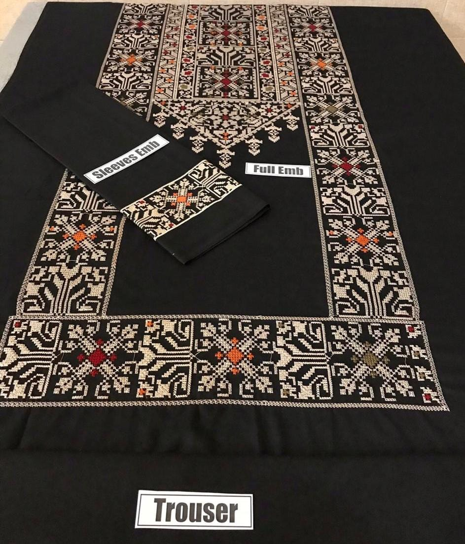Junaid Jamshed Black-Embroided 2pc linen dress shirt & trouser.