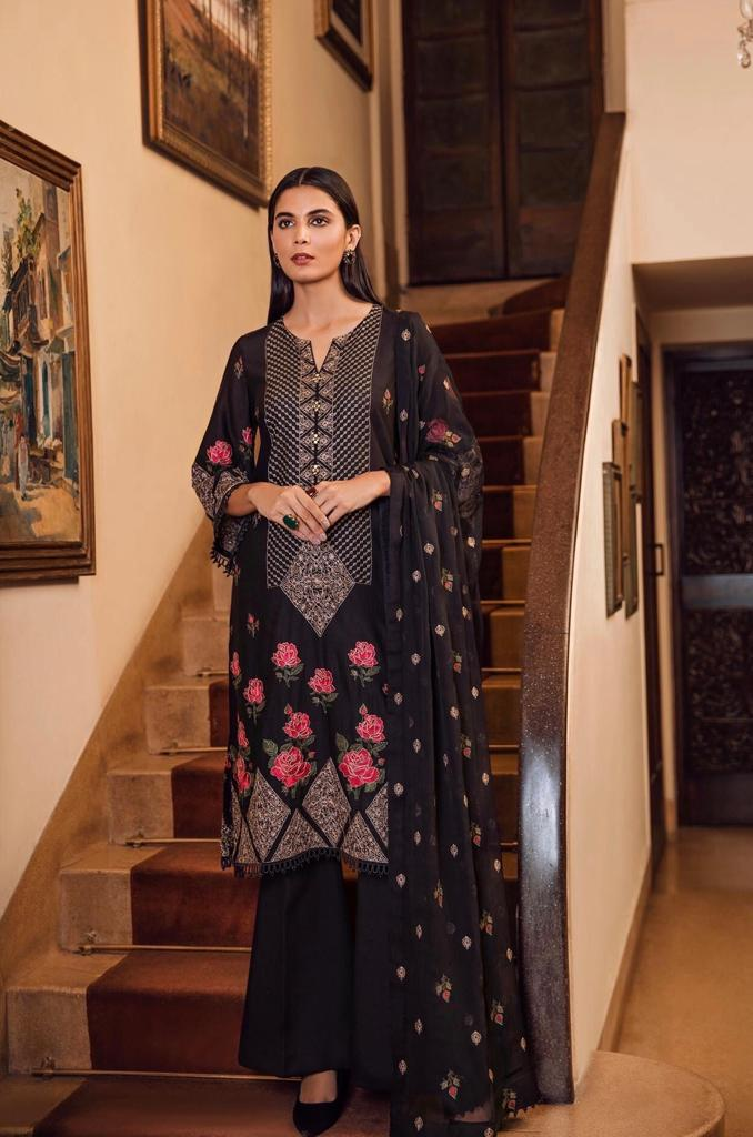 Bareeze 6043-Embroided 3pc linen dress with embroided chiffon dupatta.