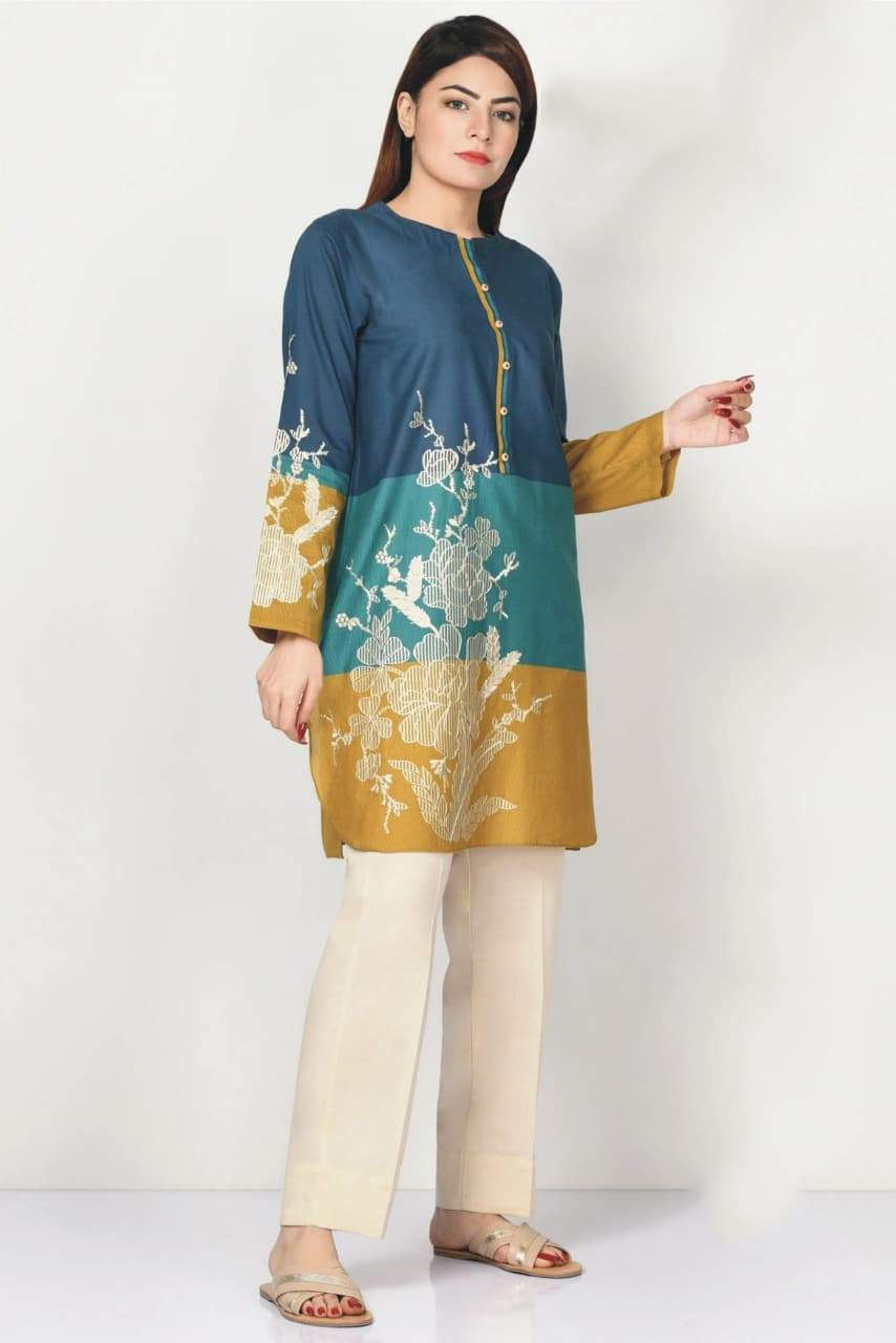 Limelight 18402-Embroided 3pc marina dress with printed wool shawl.