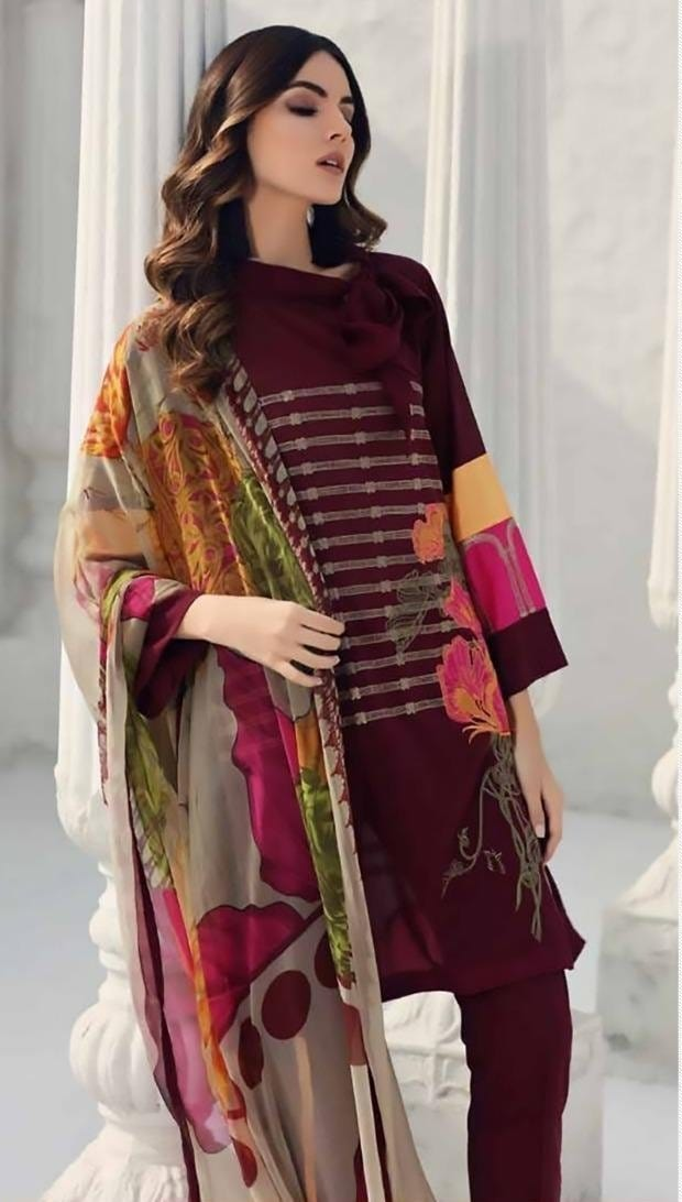Charizma 18068-Embroided 3pc linen dress with printed wool shawl.