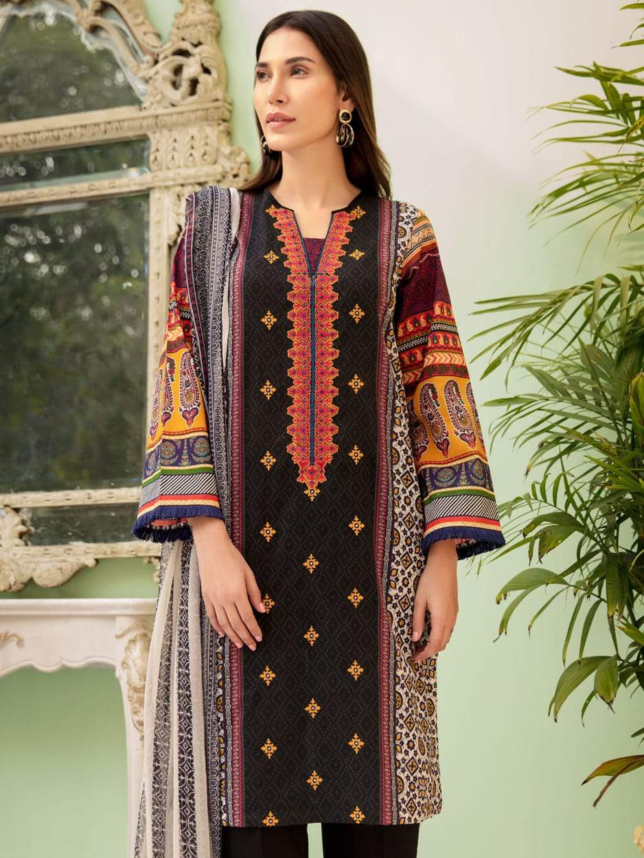 Limelight 18069-Embroided 3pc linen dress with printed wool shawl.