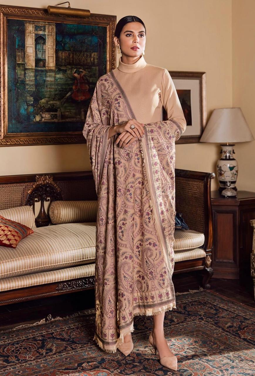 Sarinnah D20-Formal heavy Embroidered Karandi Lawn Shawl