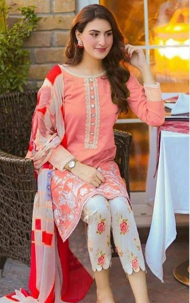 Sapphire 18151-Embroided 3pc linen dress with printed wool shawl.