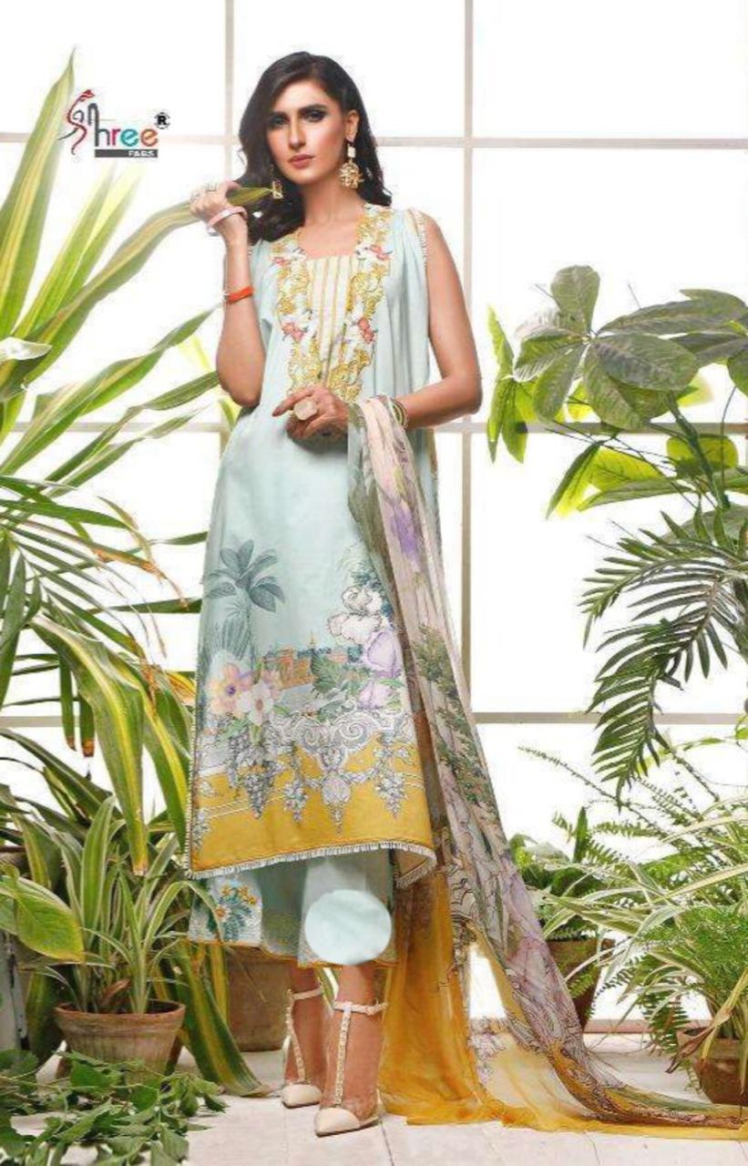 Firdous 18385-Embroided 3pc linen dress with printed wool shawl.
