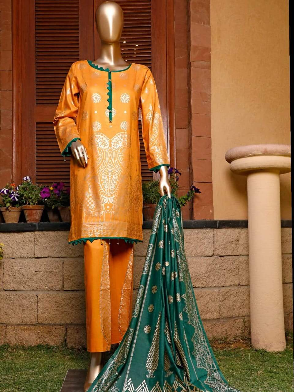 Junaid jamshed 18524-Embroided 3pc marina dress with printed wool shawl.