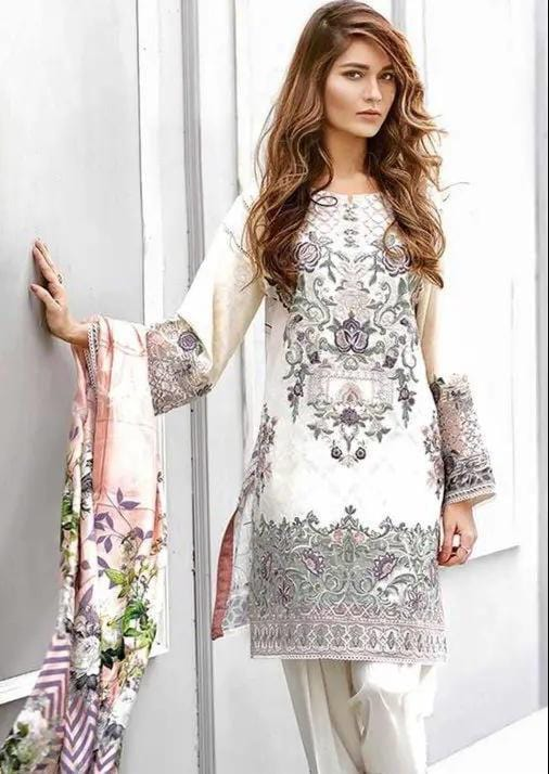 Grace 22-Embroided 3pc linen dress with printed wool shawl.