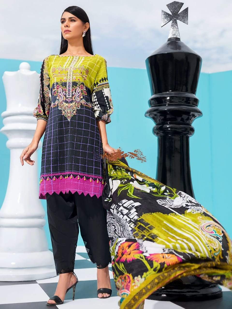 Edenrobe 227-Embroided 3pc Marina dress with printed wool shawl.