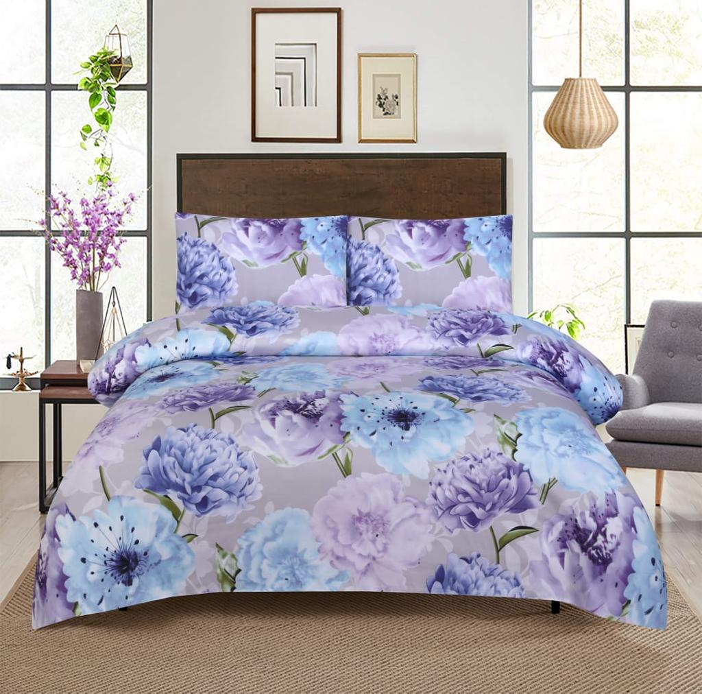 Grace D364-Reactive cotton Satin Quality king size Bedsheet with 2 pillow covers.