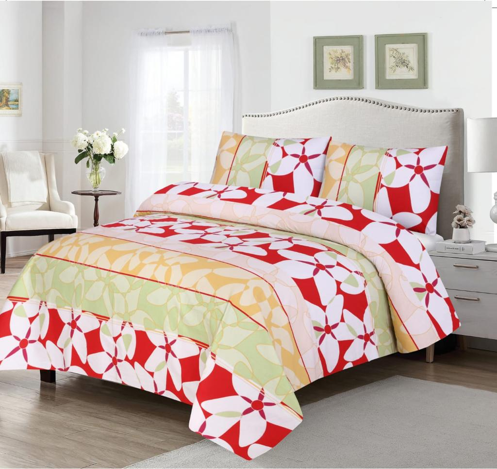 Grace D367-Cotton PC King Size Bedsheet with 2 Pillow Covers.