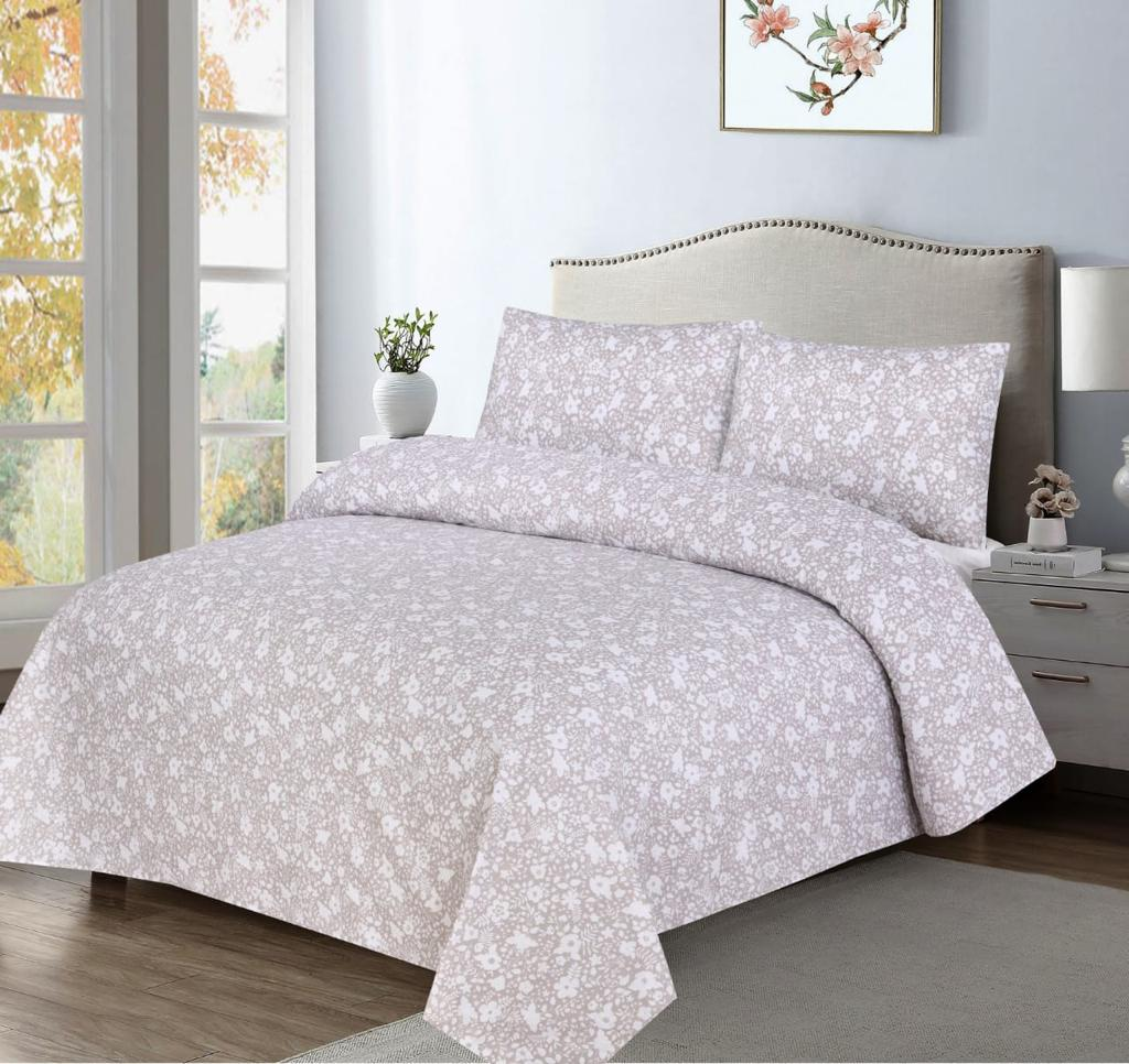 Grace D366-Cotton PC King Size Bedsheet with 2 Pillow Covers.