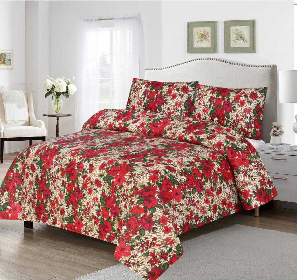 Grace D374-Cotton PC King Size Bedsheet with 2 Pillow Covers.