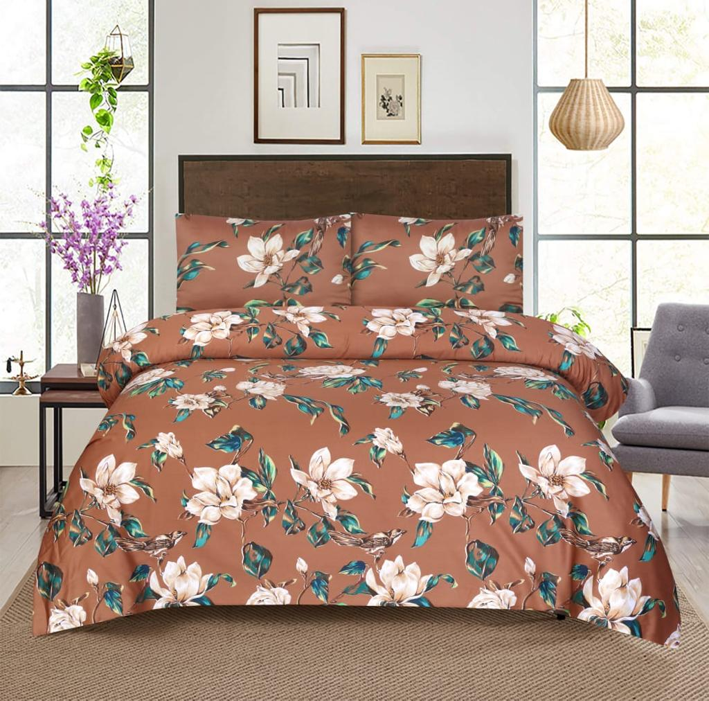 Grace D373-Reactive cotton Satin Quality king size Bedsheet with 2 pillow covers.
