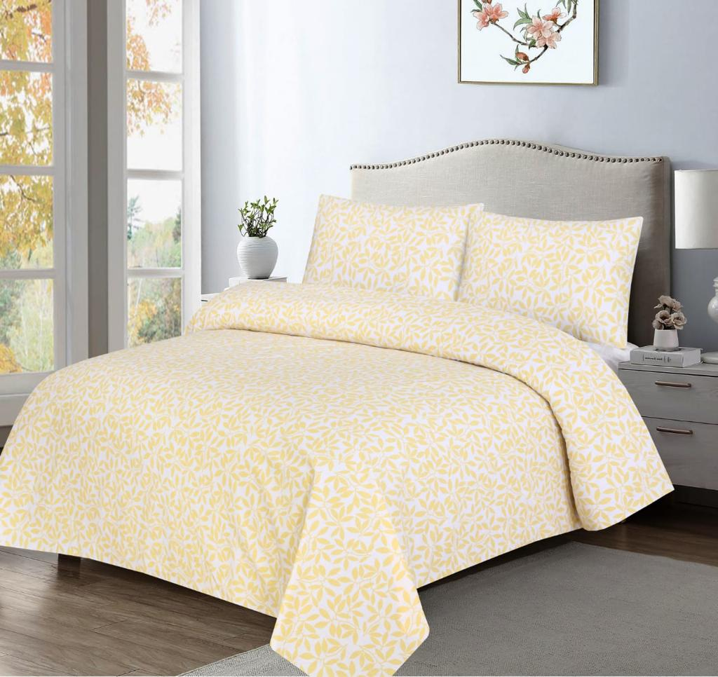 Grace D372-Cotton PC King Size Bedsheet with 2 Pillow Covers.