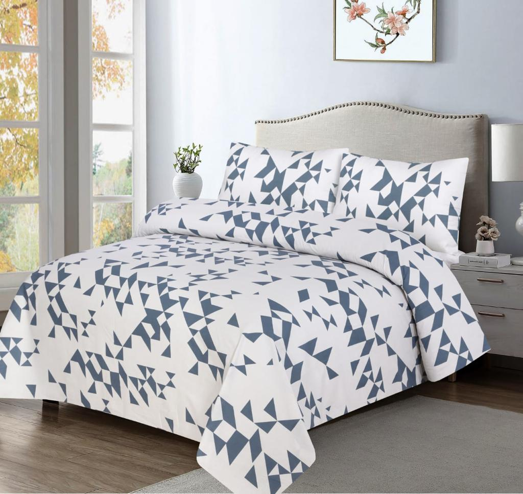 Grace D378-Cotton PC King Size Bedsheet with 2 Pillow Covers.