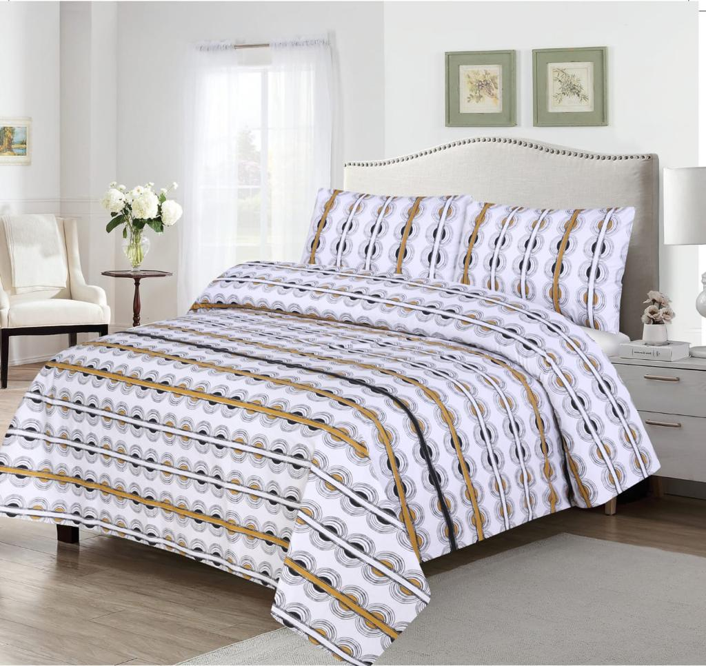 Grace D376-Cotton PC King Size Bedsheet with 2 Pillow Covers.