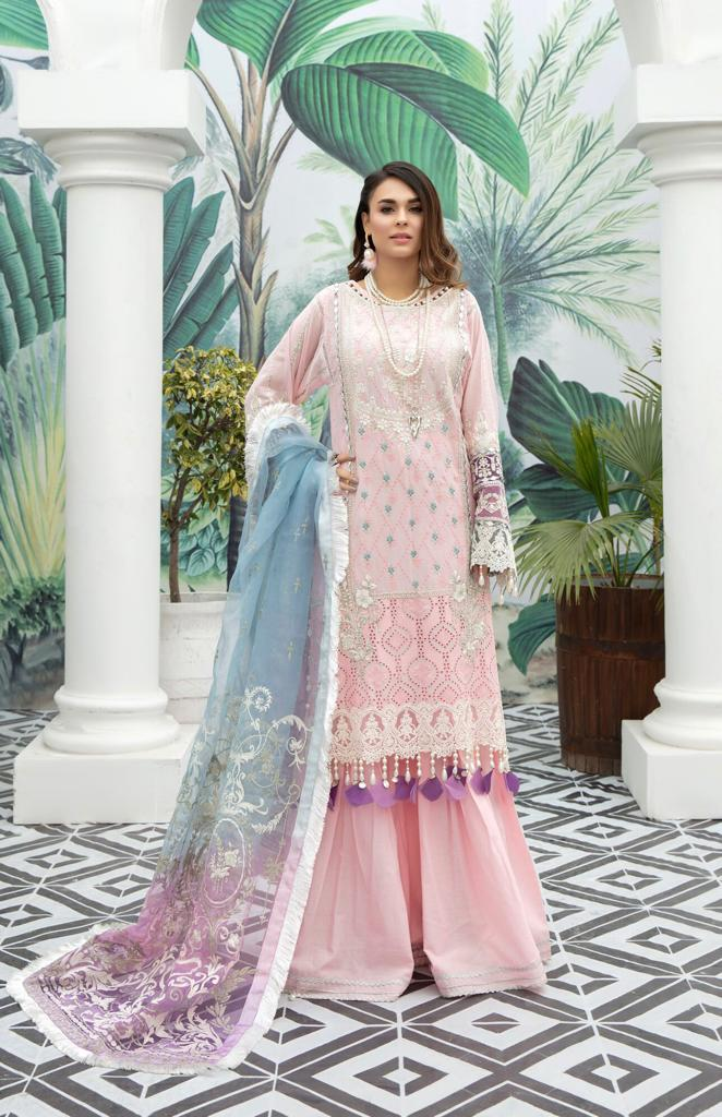Libaas Pink-Shifli Embroided 3pc lawn chicken dress with embroided net dupatta.