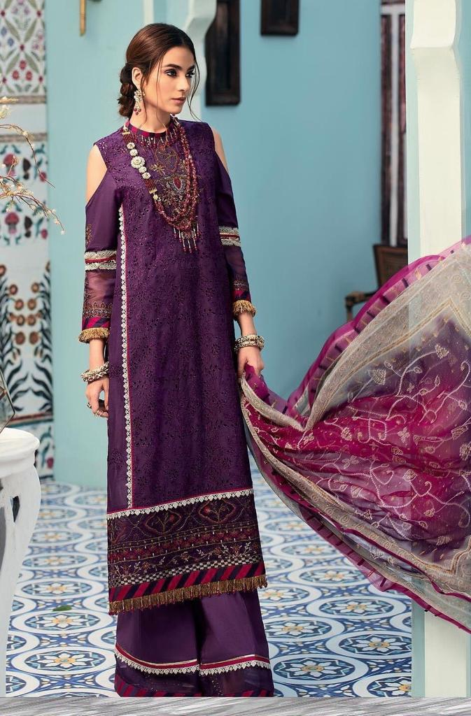 Noor Sadia Purple -Shifli Heavy Embroidered 3pc lawn chicken dress with chiffon dupatta.