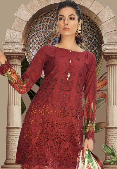 Maria red-Shifli Embroided in cutwork 3pc lawn dress with chiffon dupatta. - gracestore.pk