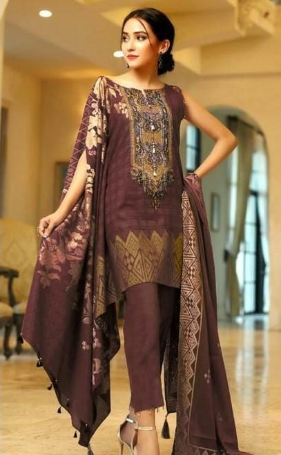 Edenrobe 18513-Embroided 3pc linen dress with printed wool shawl.