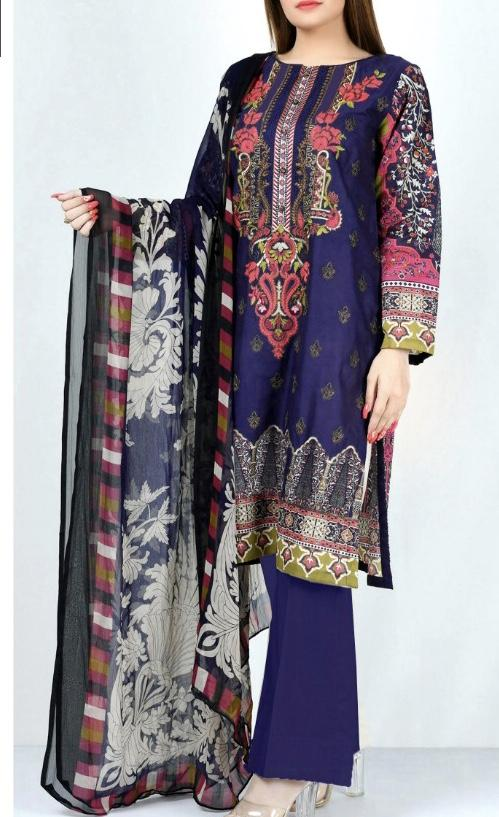 Limelight 18224-Embroided 3pc linen dress with printed shawl. - gracestore.pk