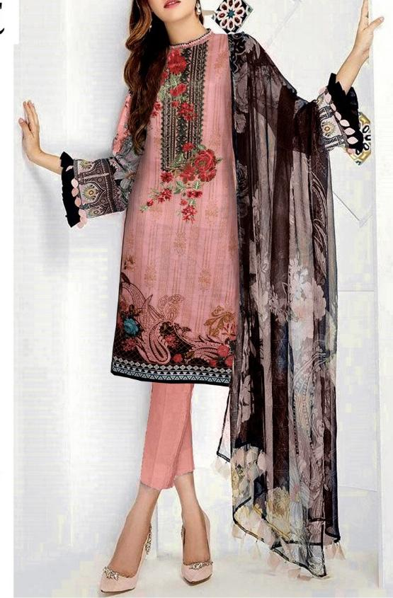 Barooque 18026-Embroided 3pc linen dress with printed shawl. - gracestore.pk