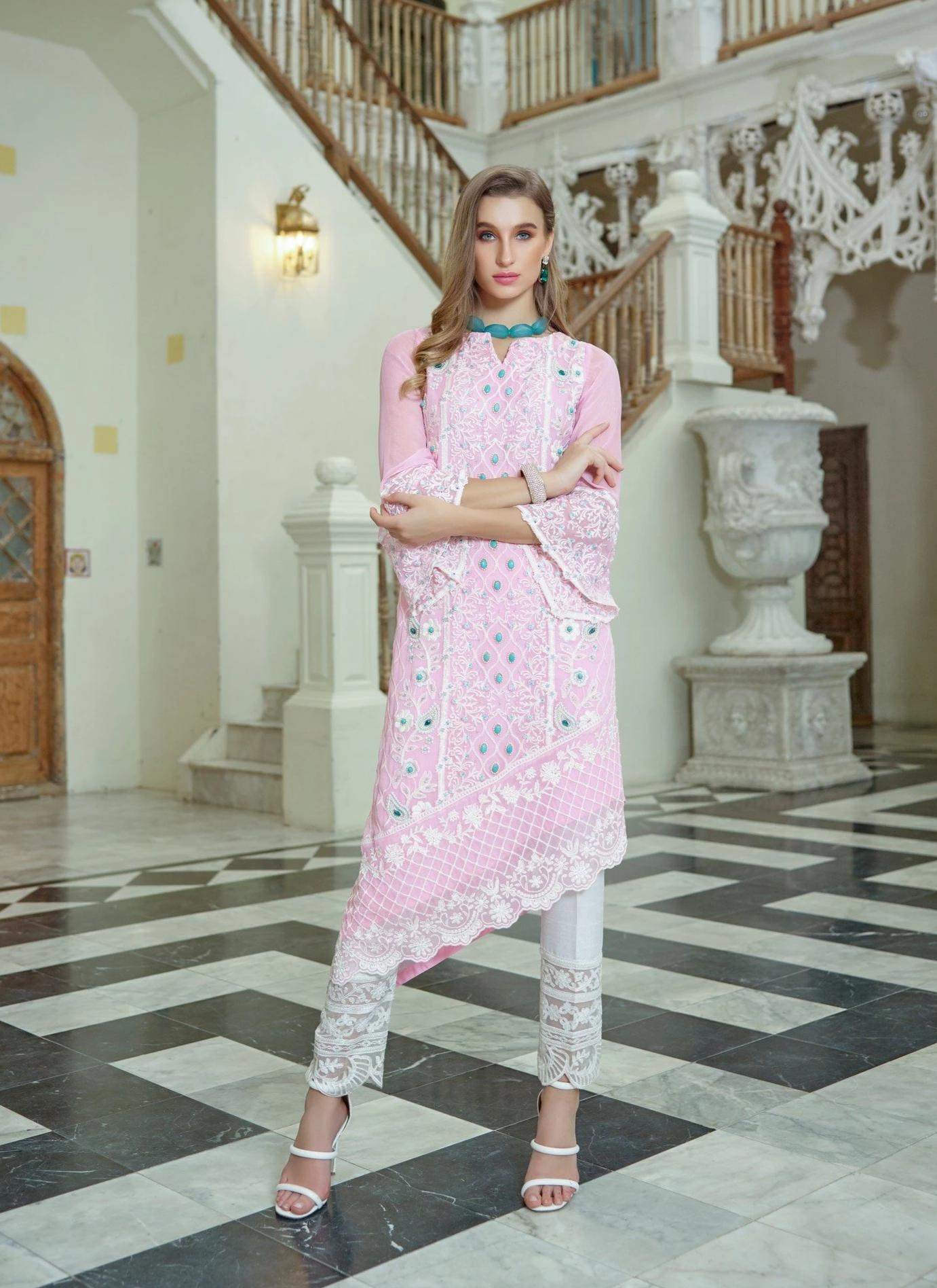 Azure 254-Embroided 2pc linen dress shirt & trouser. - gracestore.pk