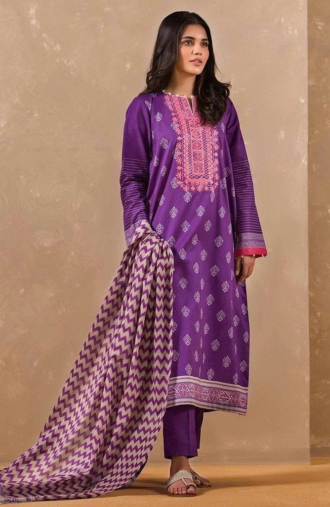Orient 18200 A-Embroided 3pc linen dress with printed shawl.
