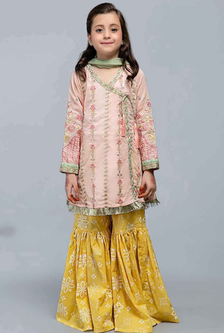 Maria 12 pink-Kids Embroided 3pc net dress with net dupatta.