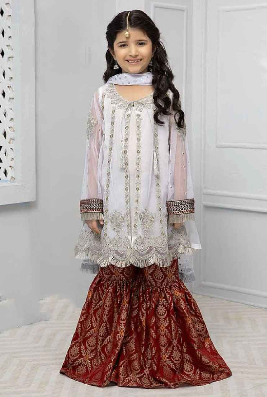Maria 241 white-Kids Embroided 3pc net dress with net dupatta.