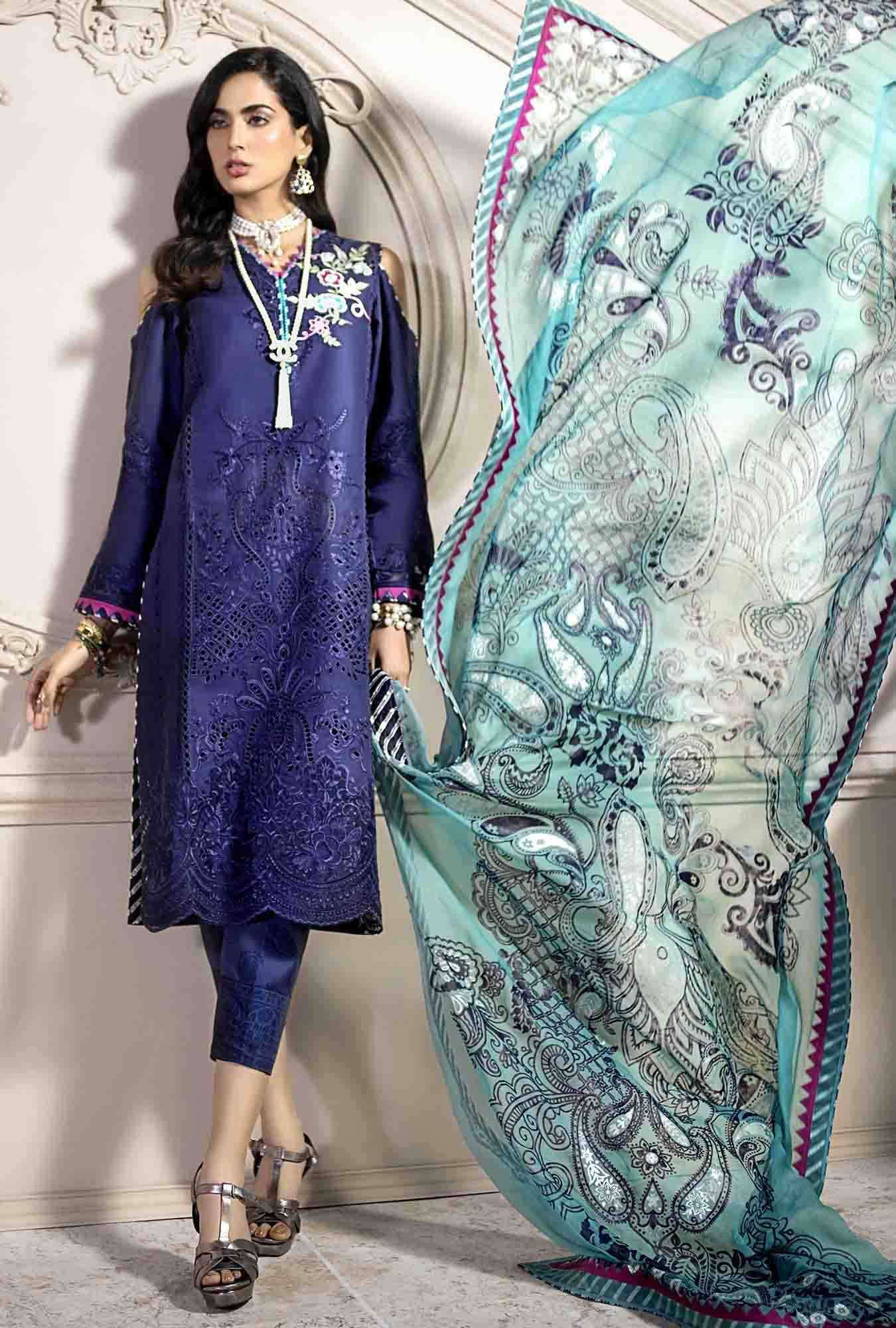 Noor 02-Embroidered 3pc lawn chicken kari dress with printed chiffon dupatta. - gracestore.pk