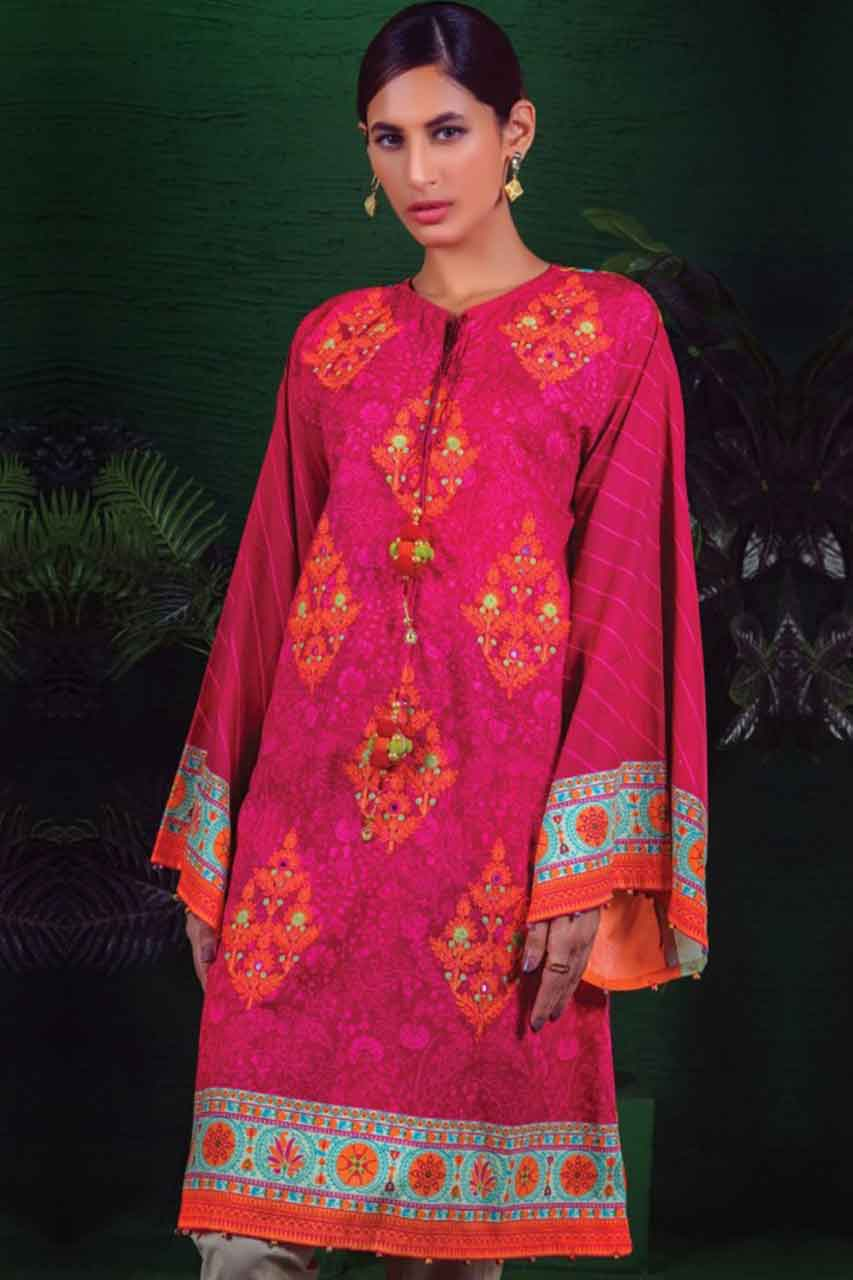 Orient 18275B - Embroidered 3pc lawn dress with printed chiffon dupatta. - gracestore.pk