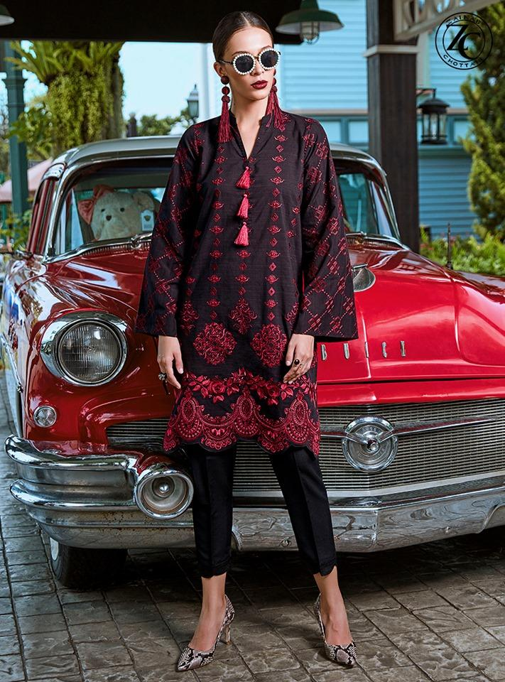 Zainab chottani pret-Embroided 2pc linen dress shirt & trouser. - gracestore.pk