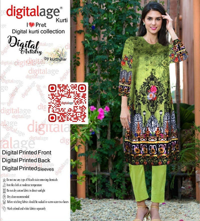 SAU 110-Digital Printed Unstiched khaddar kurti.