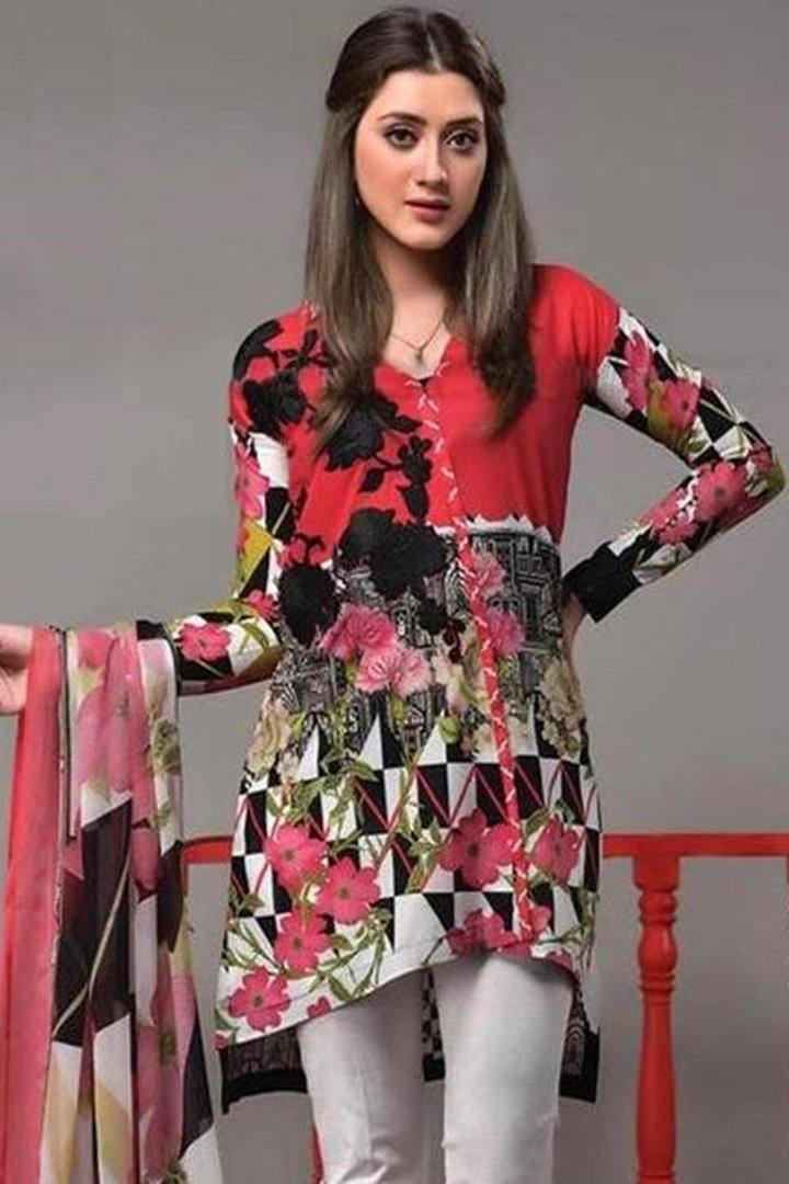 Ethnic 18219 B-Embroided 3pc khaddar dress with printed wool shawl. - gracestore.pk
