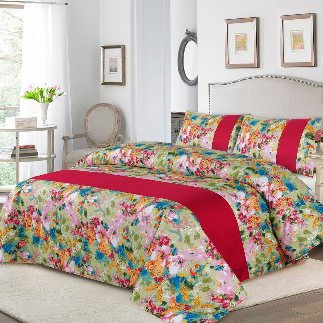 Grace D261-Cotton duck king size  (Patch work) Bedsheet with 2 pillow covers.
