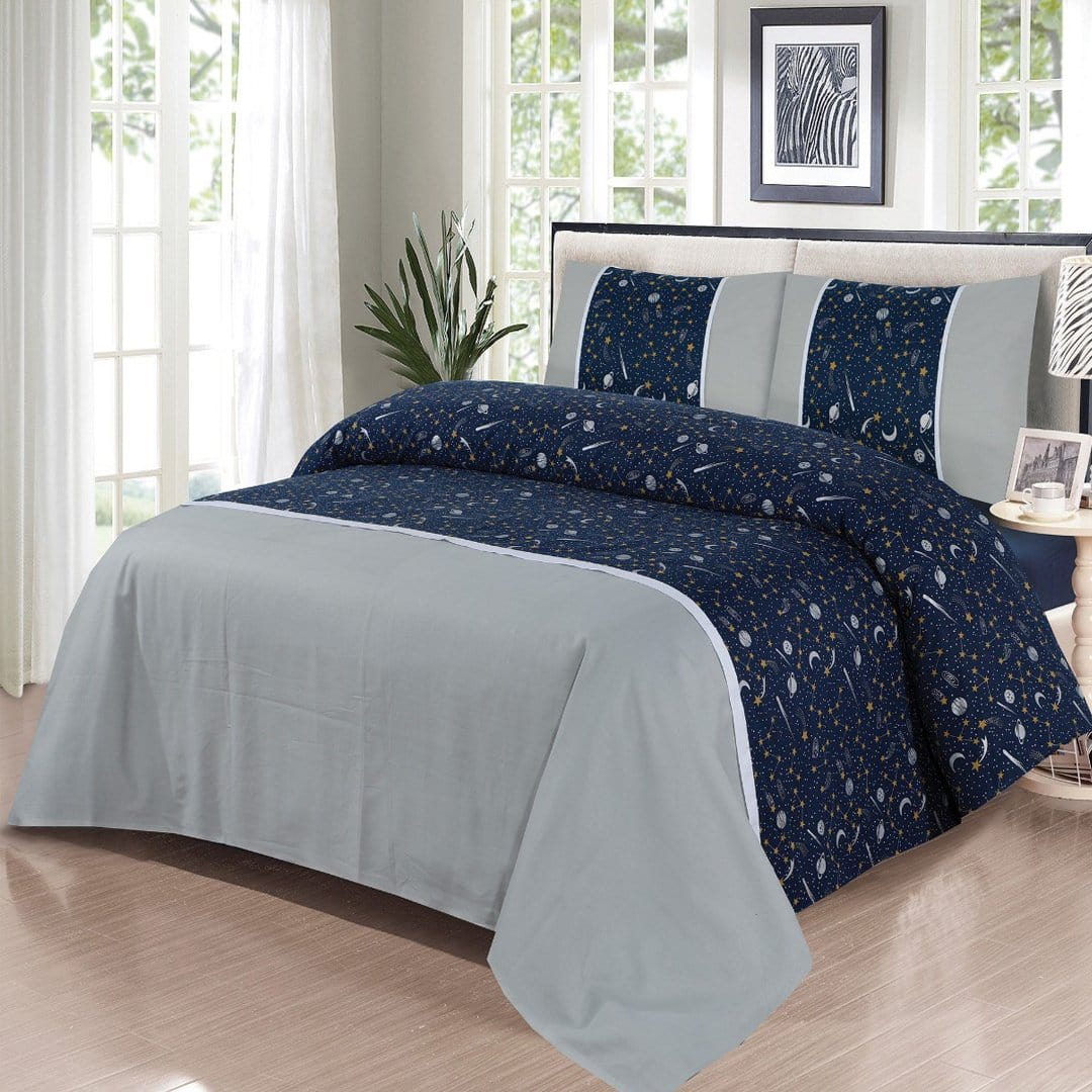 Grace D271-Cotton duck king size  (Patch work) Bedsheet with 2 pillow covers.