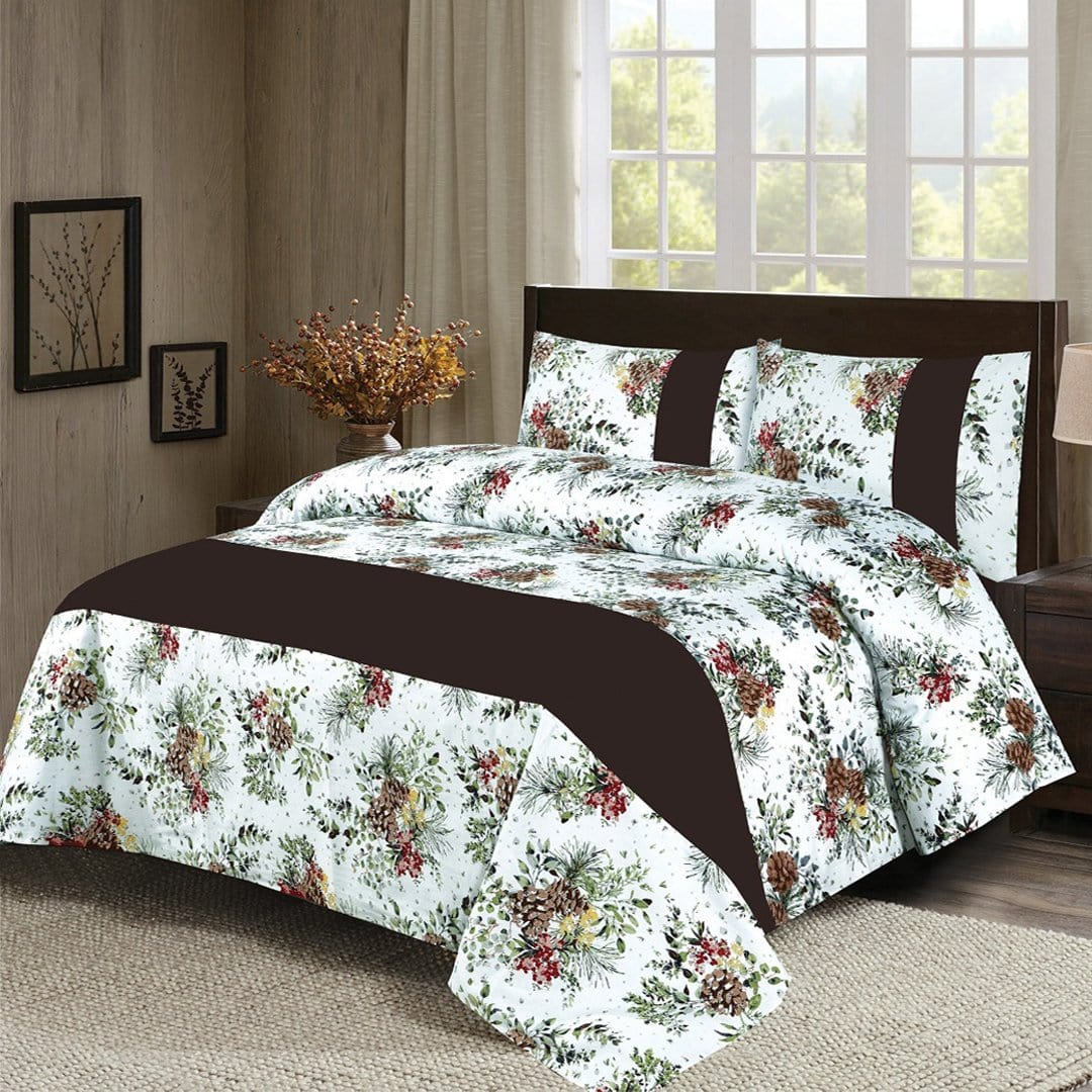 Grace D270-Cotton duck king size  (Patch work) Bedsheet with 2 pillow covers.