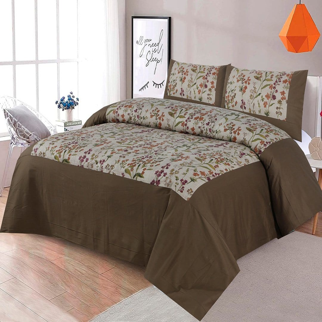 Grace D269-Cotton duck king size  (Patch work) Bedsheet with 2 pillow covers.