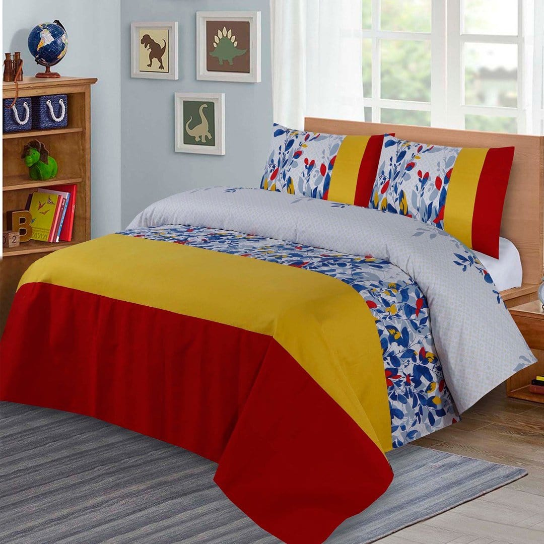Grace D272-Cotton duck king size  (Patch work) Bedsheet with 2 pillow covers.