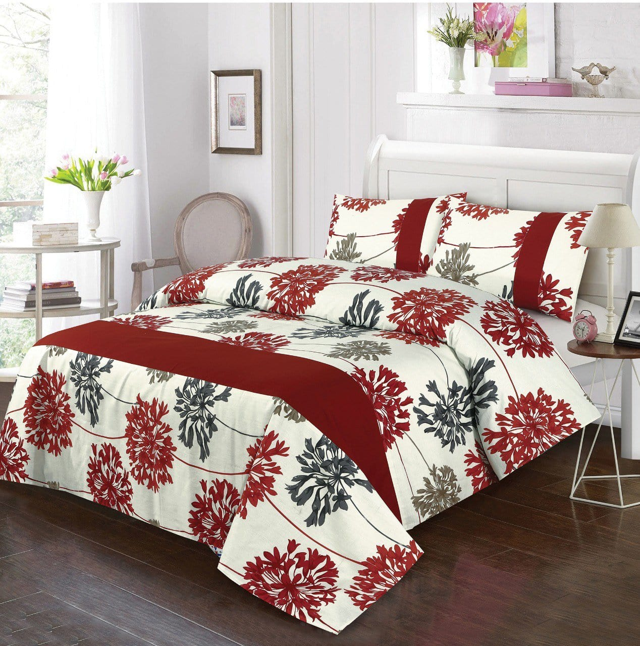 Grace D267-Cotton duck king size  (Patch work) Bedsheet with 2 pillow covers.