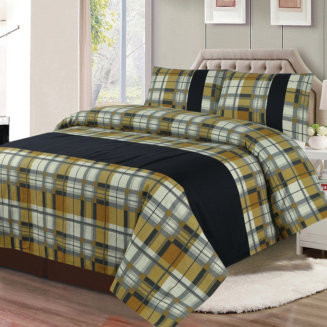 Grace D266-Cotton duck king size  (Patch work) Bedsheet with 2 pillow covers.