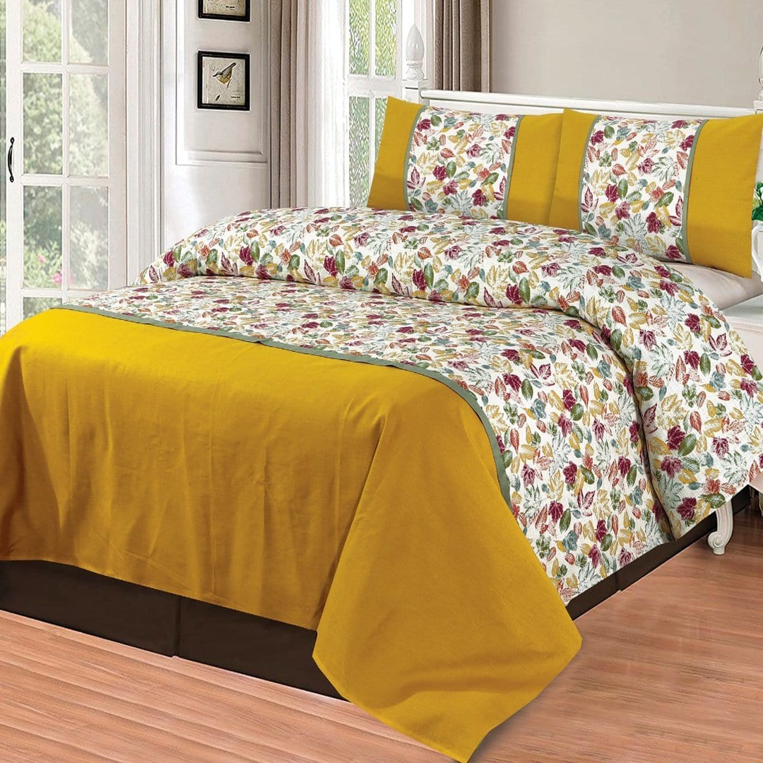 Grace D265-Cotton duck king size  (Patch work) Bedsheet with 2 pillow covers.