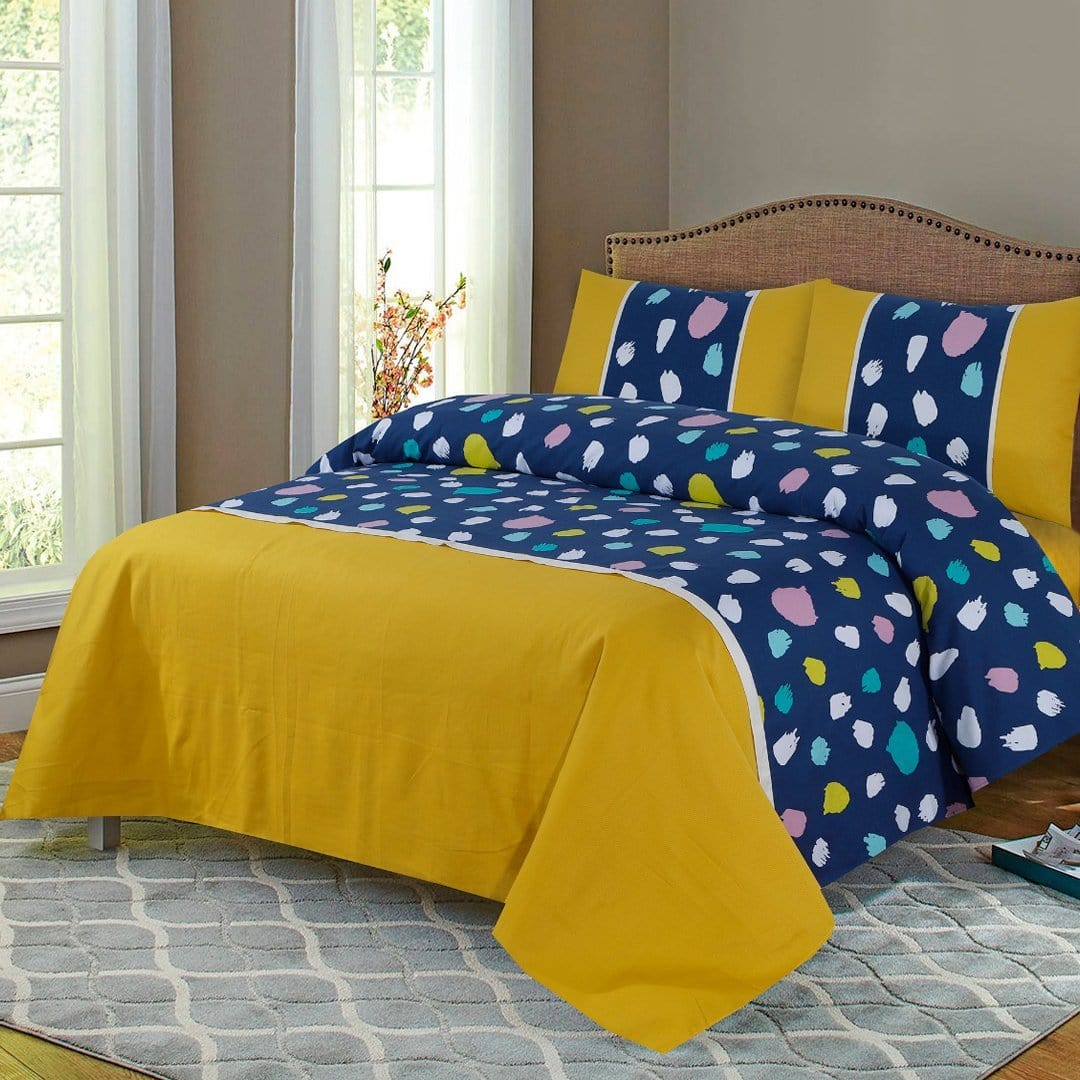 Grace D264-Cotton duck king size  (Patch work) Bedsheet with 2 pillow covers.