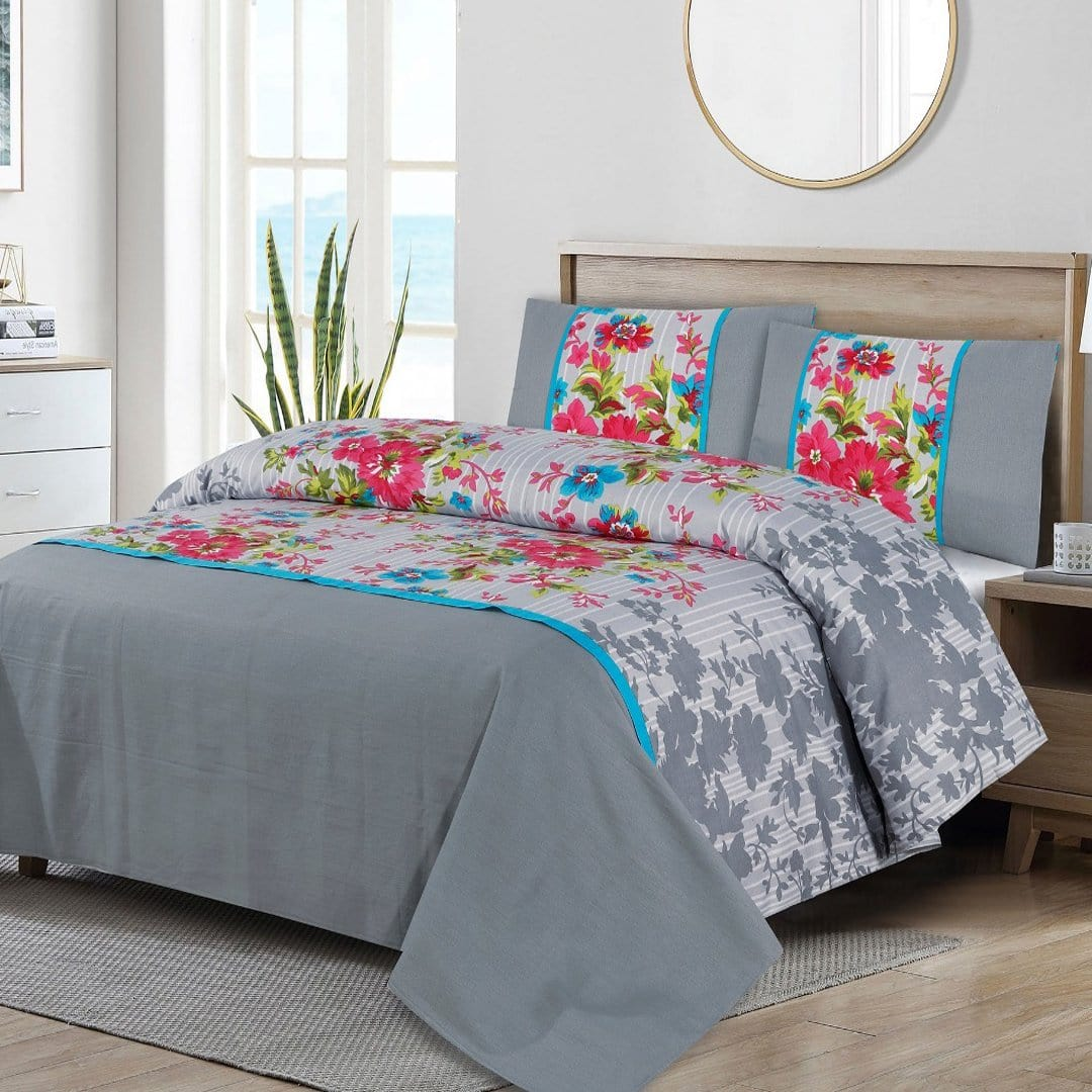 Grace D263-Cotton duck king size  (Patch work) Bedsheet with 2 pillow covers.