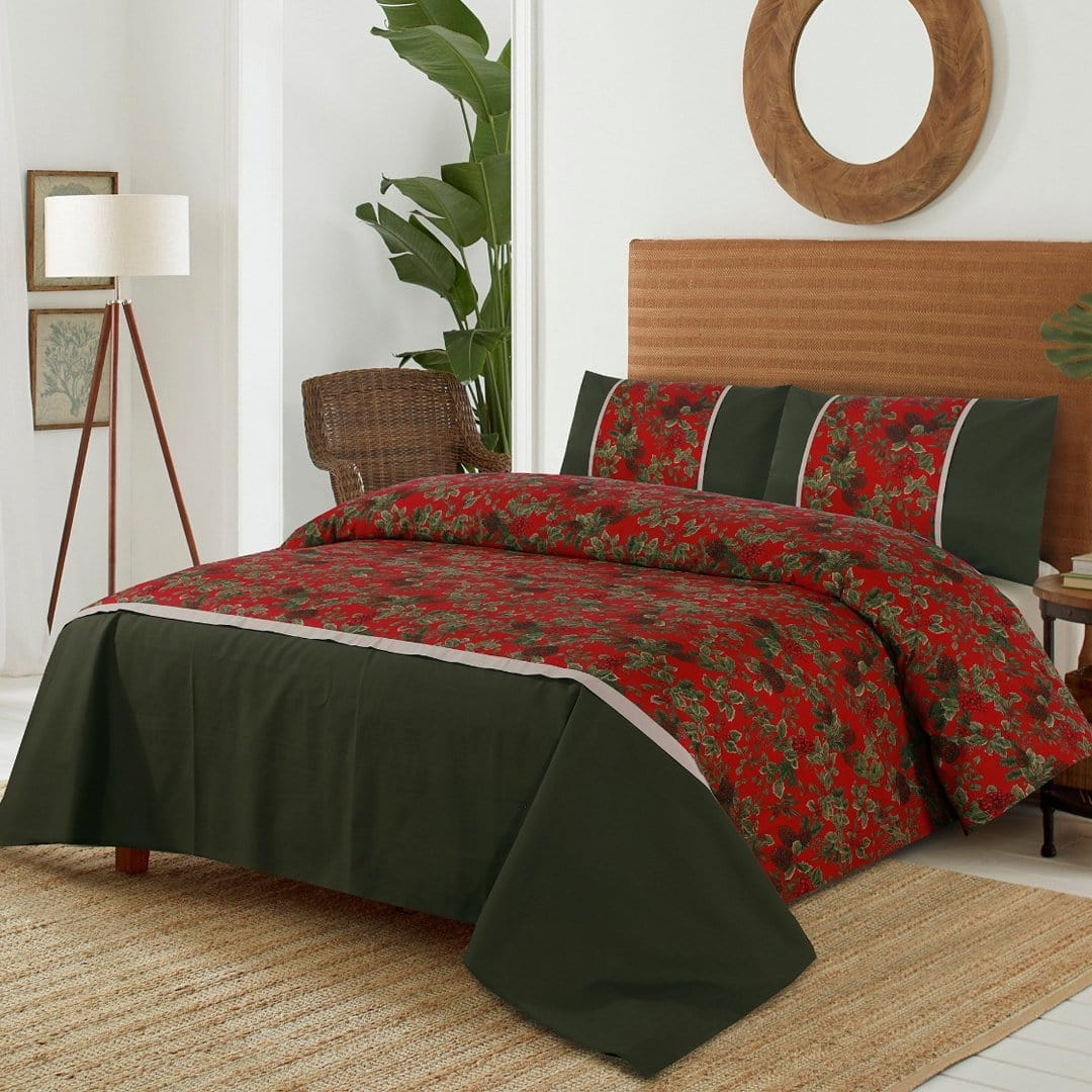 Grace D262-Cotton duck king size  (Patch work) Bedsheet with 2 pillow covers.