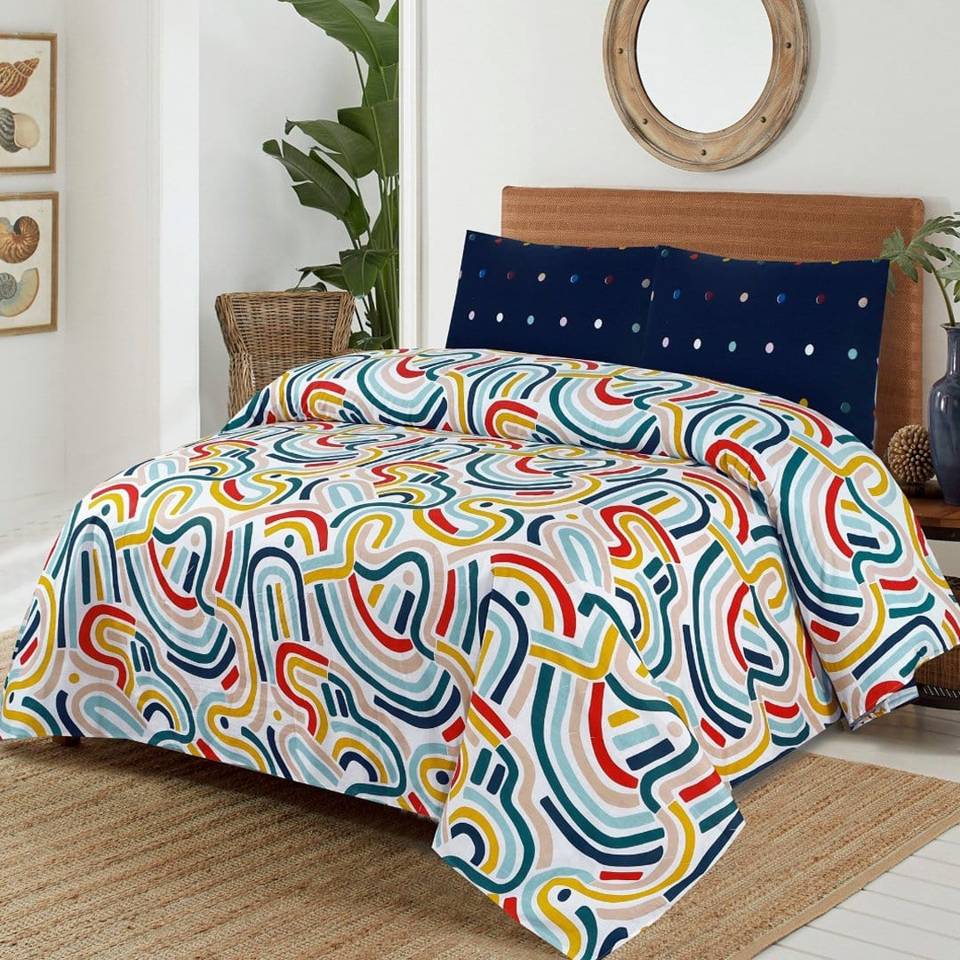 Grace D276-Cotton PC King Size Bedsheet with 2 Pillow Covers.