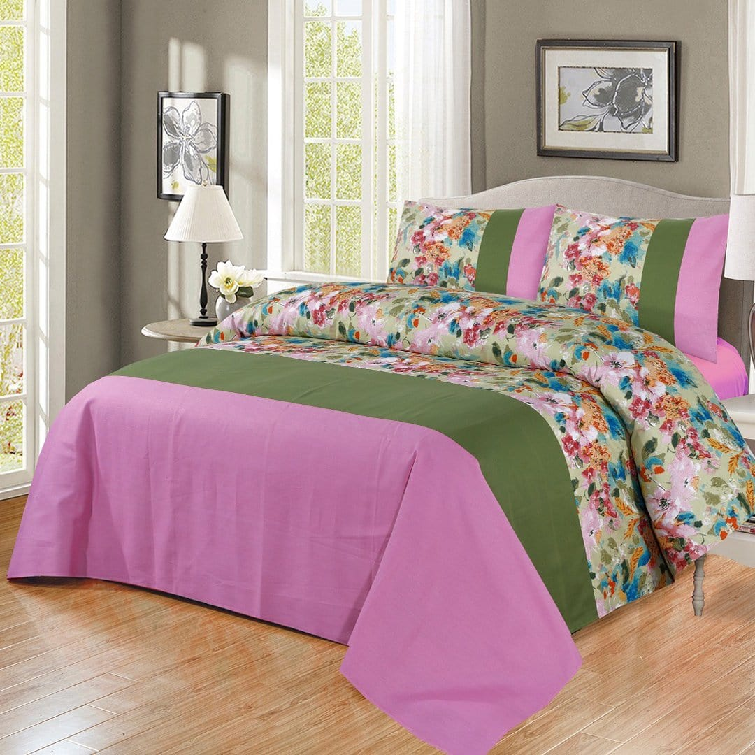 Grace D273-Cotton duck king size  (Patch work) Bedsheet with 2 pillow covers.