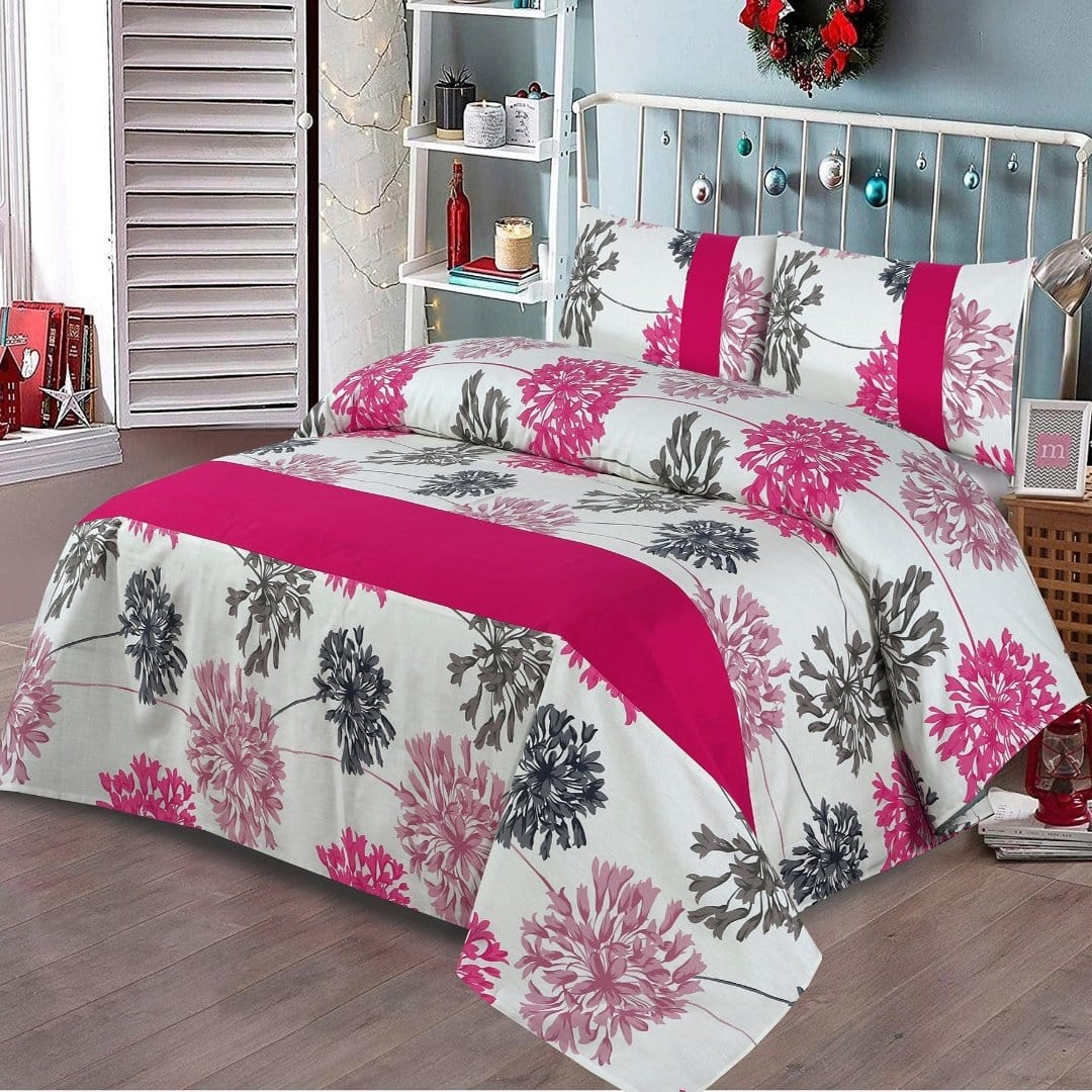 Grace D274-Cotton duck king size  (Patch work) Bedsheet with 2 pillow covers.